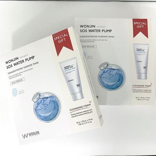 WONJIN SOS Water Pump Mask 10pcs + Hydro Vial Cleansing Foam